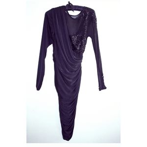 NEW TADASHI bodycon ruched gathered sequined dress